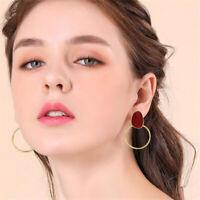 Women Simple Steampunk Style Geometric Big Circle Round Hoop Earrings Jewelry