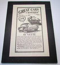 Vintage 1976 Chevrolet Corvette Race Vintage Advertising Sign '61 Vette Poster