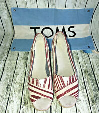 Toms Wedges 5.5W Calypso Red White Blue Striped Heeled Espadrilles NWOT Dust Bag