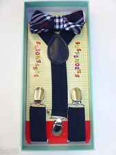 Baby Toddler Kids Child Plaid Tartan Navy Blue Suspenders Bow Tie Gift Box Set
