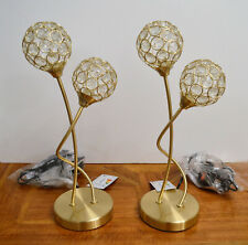 Pack Of Two Table Lamps Satin Gold Crystal Glass Contemporary