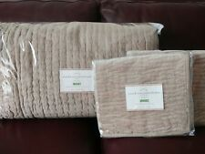 Pottery Barn Velvet & Linen Pickstitch Quilt Full / Queen Standard Shams Taupe