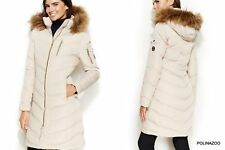 Calvin Klein winter down slim coat Faux Fur Hooded Beige jacket Medium, UK LARGE