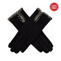 Ladies Gloves Fleece Black Touch Screen Warm Winter Thermal Fur Lined Comfy Soft