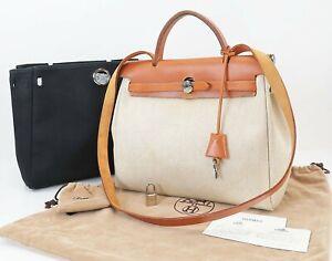 Authentic HERMES Her Bag 2 in 1 Beige and Black Canvas Hand Shoulder Bag #40099
