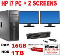 "HP 8200  i7 COMPUTER PC  2 X 22""  DELL TFT DUAL SCREEN 16GB  1TB WINDOWS 10 OR 7"
