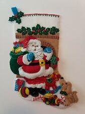 "Beautiful Completely Handmade 18-In Christmas Stocking ""Santa's Visit"" Bucilla"