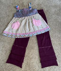 Matilda Jane Gypsy Blue Striped Bailey Knot Top Maroon Finn Pants sz 10 Vintage
