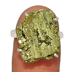 Peruvian Golden Pyrite 925 Sterling Silver Jewelry Ring s.8 AR221681
