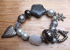 Eclectic Silver & White Bead Bracelet/Retro/Bobble/Chunky/Pearl/Glass/Charms