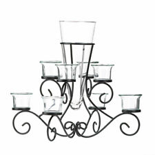 HOME LIGHTING DECOR SCROLLWORK 6 CANDLE STAND WITH VASE IRON GLASS