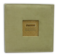 """Suede Cover Beige Photo Album, Holds 200 4""""x6"""" pictures, 2 per page"""