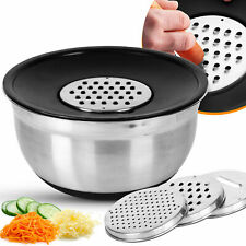 Stainless Steel Mixing Bowl with 3 Set Of Grater Serving Bowls Salad Anti Slip