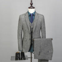 Men's Vintage Wool Suit 3 Pieces Tweed Material 2 Button Wool Gray Custom New