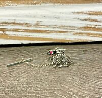 Gorgeous Vintage Silver Tone Bunny Rabbit Red Crystal Eye Tie Tack Lapel Pin