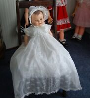"Vintage 23""  Baby Doll 1940's she wears a custom Rodell Christening dress, hat"