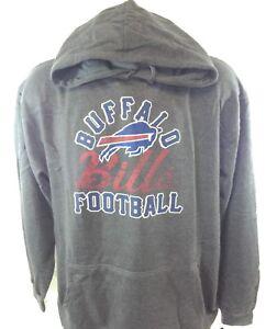 NEW Mens NFL Majestic Buffalo Bills Charcoal Grey Screen Print Pullover Hoodie