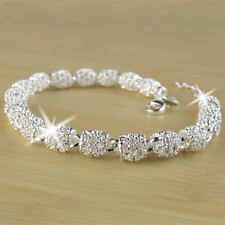 9ABB Women's 925 Silver Charm Chain Bangle Bracelet Wedding Fashion Jewelry Gift