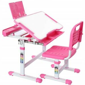 Height Adjustable Kids Child Study Desk Table Chair Set Bookstand Free LED Light