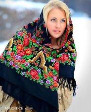 "Virgin Merino Woolen Pavlovo Posad Shawl 146cm/57"" Luxury scarf- Russian beauty"