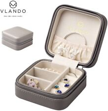 Vlando Macaron Small Jewelry Box, Travel Storage Case For Rings And Earrings -