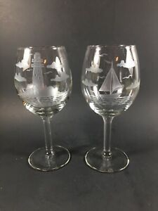 Vintage Etched Crystal Wine Glasses Sailboat And Lighthouse