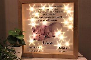 LED Bild Baby Ihr Foto beleuchtet zur Taufe Geburt Name Datum personalisiert