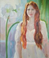 Oil painting IMPRESSIONISM WOMAN PORTRAIT ORIGINAL