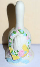 Estate Easter Bell  Praying Hands over Bible with Flower Accents Adorable LOOK