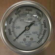"302LFW-254V 2.5"" Glycerin Filled SS 316 Internal Gauge 1/4"" NPT CBM 0/15,000 psi"
