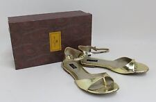 ETRO Ladies Gold-Toned Leather Flat Ankle Strap Shoes Sandals EU36 UK3.5