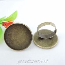 18pcs/lot Antiqued Bronze Iron 25*25mm Round Cameo Setting Ring Jewelry 39376