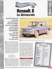 VOITURE RENAULT 8 / R8 - FICHE TECHNIQUE AUTO 1962 COLLECTION CAR FRANCE