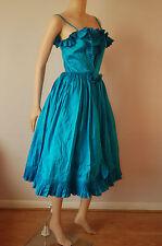 vintage 50's 80's Andrea Wilkin PURE SILK Swing dress UK 8