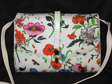 *RARE* GUCCI VINTAGE FLORA BOTANICAL CANVAS & LEATHER CROSSBODY BAG