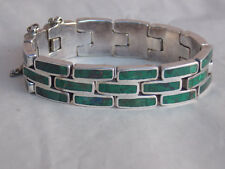 Stone Articulated Bracelet 60g Modern Mexican Sterling Silver Inlaid