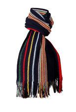Missoni Navy Blue Crochet Knit Oversized Zigzag Fringe Scarf