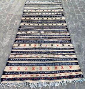 16212 Vintage Moroccan Kilim Berber Kilim Hand Woven Sabra Wool Kilim Rug 3x8 ft