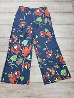 EUC Diane Von Furstenberg Blue Floral Flower Pants size 12 Thin & Lightweight
