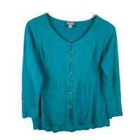 J.Jill Button Front Top Size S Green Pleated Long Sleeve Scoop Neck Cotton Shirt