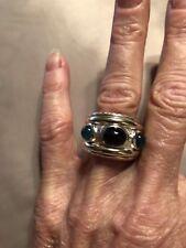 Authentic David Yurman cigar band Renaissance Ring Onyx and Green Agates Size 6