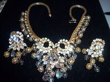 VTG JULIANA GOLD MESH FILIGREE BALL AB CRYSTAL RHINESTONE NECKLACE EARRING SET