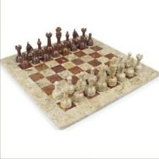 """16"""" Fossil Marble Chess Set and Red Alabaster Board Game In Velvet Box"""