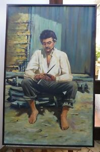 LARGE  OIL THE WORKER BRAZILIAN ARTIST CHEDIAC 1960,S  FREE SHIPPING ENGLAND