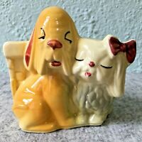 Vintage Shawnee USA 611 Pottery Planter Loving Kitty Cat & Puppy Dog Yellow Gray