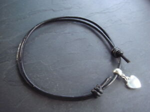2mm black leather friendship bracelet adjustable with silver heart charm