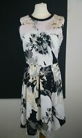 Next Size 10 Grey White Floral Skater Style Fit N Flare Dress