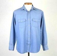 Vintage 80s Big Smith Blue Western Shirt Snap Up Long Sleeve Cotton Retro Mens M