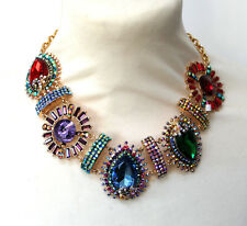 Butler and Wilson 5 Big Stone Multi Crystal Art Deco Style Collar Necklace NEW