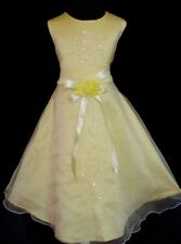New Yellow Flower Girl Party Bridesmaid Dress 8-9 Years